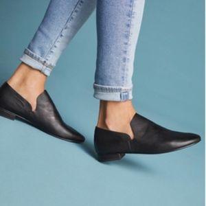 Kelsi Dagger Anthropologie Black Leather Loafers